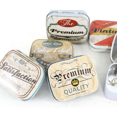Small Retro Vintage Labels Knick-Knack Storage Tins